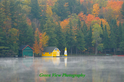 "Yellow Boathouse - ""Viewer's Choice"" award winner at the Adirondack Lakes Art Center in Blue  Mountain Lake."