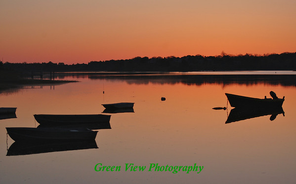 Boats in the Bay - Sunrise - Salt Bay Pond