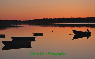 Boats in the Bay - Sunrise - Salt Bay Pond